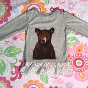 Ticker + Tate bear top with lace